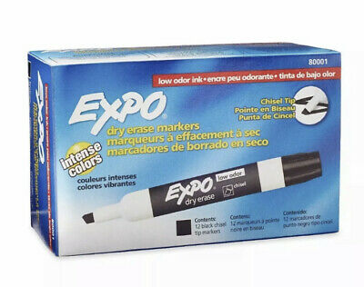 Expo Chisel Dry Erase Markers For Whiteboards 80001 Black 12 Count
