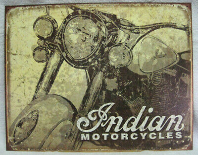 INDIAN MOTORCYCLES - VINTAGE ANTIQUED DESIGN METAL SIGN, NEW! MADE IN USA!