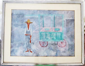 FRAMED ORIGINAL 1951 JUDITH SHAHN SIGNED PAINTING TITLED NIEVES