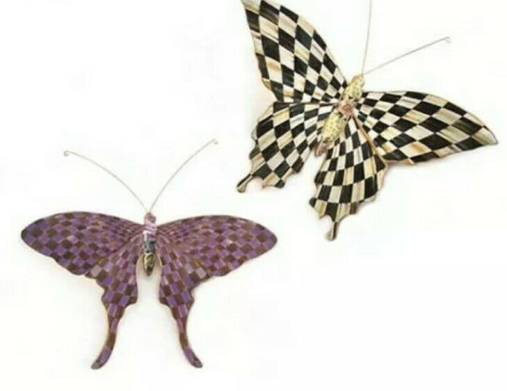 NEW MacKenzie-Childs  Butterfly Duo Pasture Wall Hanging Clips - Set of 2 New