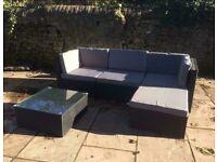 Rattan corner sofa with coffee table