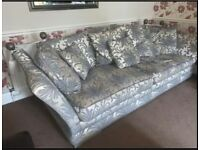 SOFA, LARGE GREEN/CHAMPAGNE KNOWLE STYLE SOFA