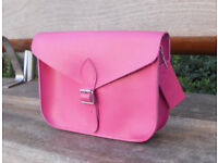 Oxford Satchel - Real Leather - Pink - Vintage Shoulder Handbag Handmade in Cambridge UK