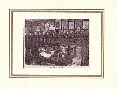 kleiner  Holzstich  Jever Zimmer der Getreuen ca. 1880