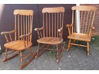 Pine Or Beech Stick-Back Rocking Or Nursing Chair