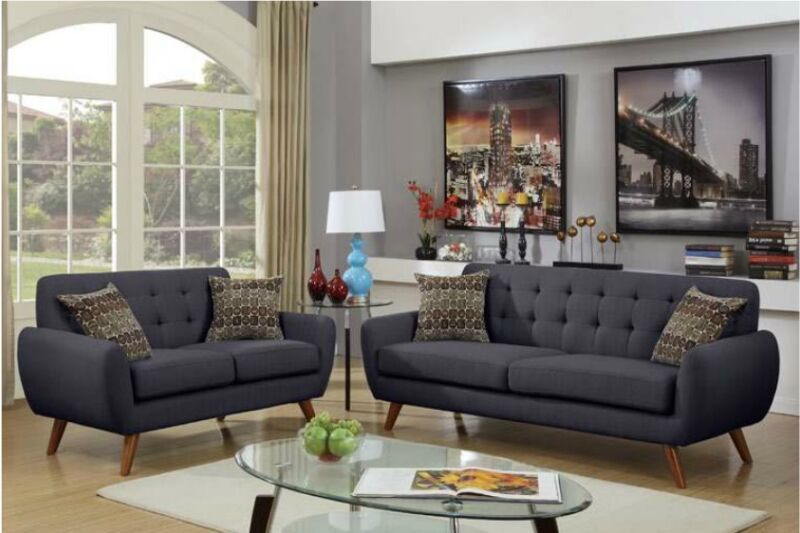 2pc Sofa Set Sofa & Loveseat Cushioned Sofa Couch Ash Black W Pillow Family Room