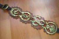Antique Horse Brass on Solid Leather belt in Excellent Shape