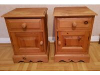 Pair of Solid Pine Bedside Cabinets with Drawers