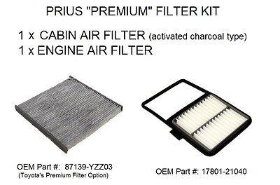 Prius Premium Filter Kit - 1 Engine Air & 1 Carbon Cabin Air Filter, 2001-2009