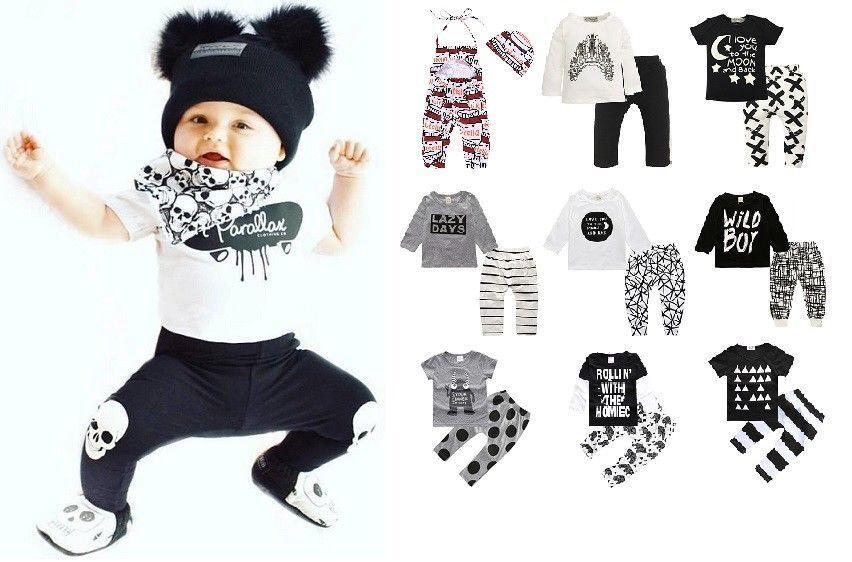 2 PCS SET Newborn Baby Kids Girls boys Shirt top Pants Infan