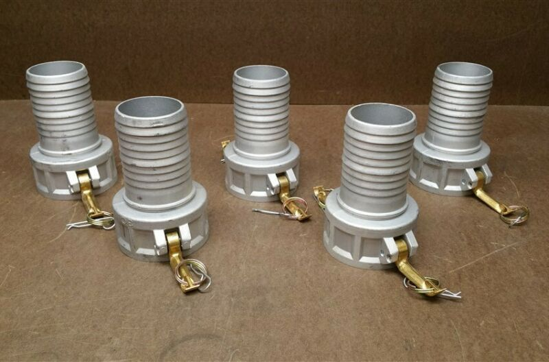 "Lot of 5 Female 3"" Camlock Hose Barb Fitting Cam-Lock Trash Pump"