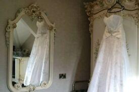 Wedding dress, strapless, zip back, small train