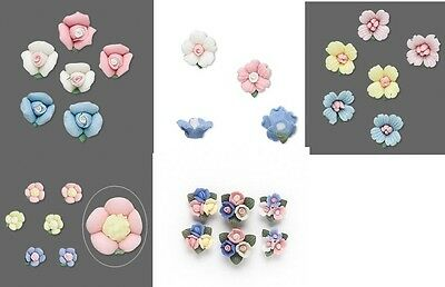 Porcelain Roses/flowers 6-16mm 6 Pc (3pr) Undrilled Beads Diff Colors