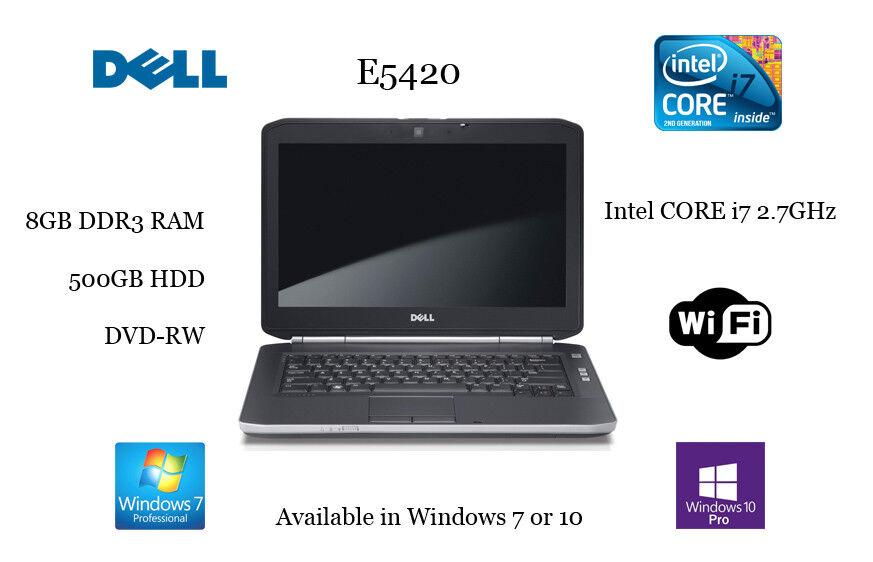 DELL LAPTOP E5420 CORE i7 2.7GHz 8GB/ 500GB HDD/ DVDRW/ Win7-64bit or Win 10