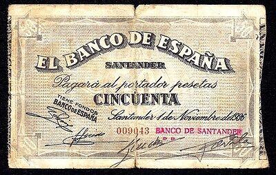 Spain 50 Pesetas 1936 Santander Banco Mercantil S 584