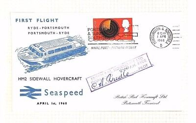 AQ499 1968 GB Ryde Portsmouth HOVERCRAFT First Flight Cover Seaspeed