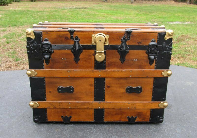 "Antique Wood Flat Top Steamer Trunk Restored 32"" Storage Chest Table"