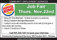 Nov.22nd Job Fair for Oshawa Burger King