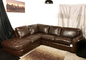 ^^ Dfs new ex display brown real leather corner sofa