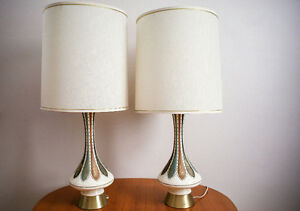 Tall Danish Mid Century Modern Table Lamp Set Pair