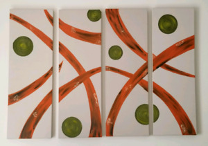 4 large OIL paint large canvases, neutral abstract
