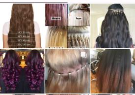 Hair extension, LAweave, Brazilianknots, micro/nano rings, tape-in