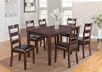 7 PC SOLID WOOD DINING SET $449/- (NO TAX)