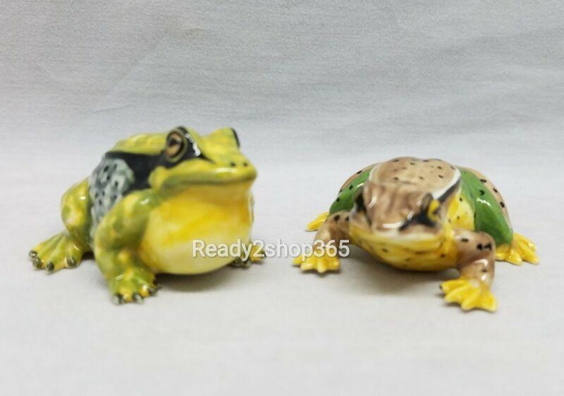Green Frog Toad Ceramic Figurine Miniature Figurines Animal Hand Art Decor New
