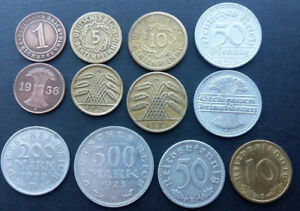 German 12 coins from 1921 - 1938