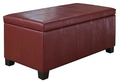 Dover Leather Ottoman, Radicchio Red