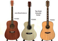 Solid Top Decent Acoustic Guitars Brand New with eTuner Bag Pick