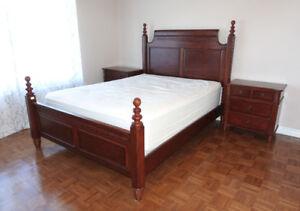 Solid Wood Queen Bedroom Set 4 piece + mattress