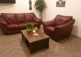Dfs burgundy genuine leather 3 seater sofa and arm chair