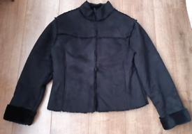 Miss Fiori womens suede & faux fur jacket