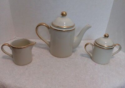 Fitz and Floyd Palais Coffee Pot Creamer and Sugar Bowl Excellent Condition 1977