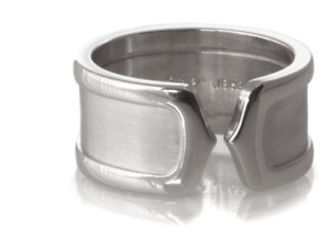 Cartier Double C  Wide 18K White Gold Ring - Size 6