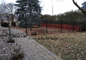 Metal Fence & Gate - High End Glossy Black Steel Tubing, 13 Pcs