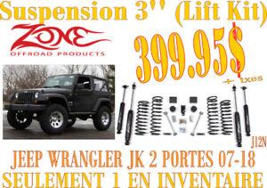 SPÉCIAL-ZONE OFFROAD-Suspension 3'' Wrangler 2 portes 08-17 J12