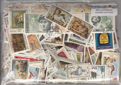 800 verschiedene Briefmarken  Gemälde , Kunst , Antik , Archeologie , Skulpturen
