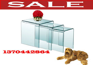 modern glass nesting coffee tables, plant end side table,1370t