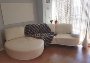 Designer off-white leather couch