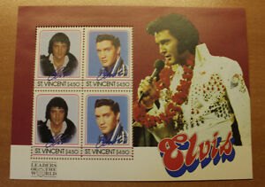 Feuille de timbres d'Elvis Presley, St-Vincent 1985 pour $10