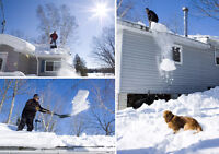 Snow removal from decks and one to one and half story roofs.