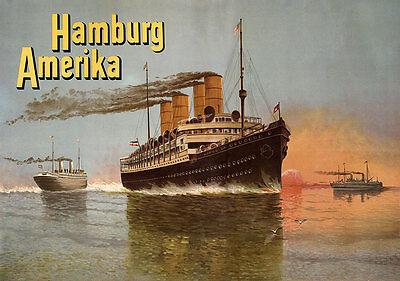 Hamburg Amerika Dampfschifffahrt Reederei Frachtschiff Passagiere Plakate A3 289