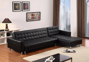 sectional sofa bed Black leather or Grey fabric