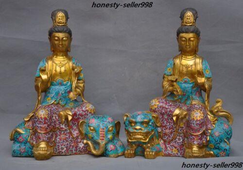 Old Bronze Cloisonne Enamel Kwan-yin Manjusri Samantabhadra Elephant Lion Statue