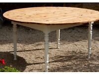 Original French Country Pine Kitchen Dining Table With Lovely Turned Legs and 2 Drop Leaves