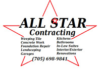 All Star Contracting  (705) 698-9841  Foundation,Parging,Weepers