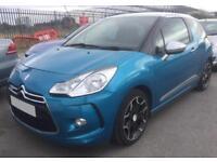 2013 BLUE CITROEN DS3 1.6 E-HDI 110 AIRDREAM DSPORT DIESEL CAR FINANCE FR £20 PW