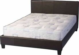 UK TOP SELLING BRAND==70% OFF NOW== Double Leather Bed with 9inch Original Deep Quilt Mattress